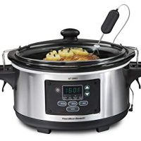 Hamilton Beach 33969A 6-Quart Programmable Set & Forget w/Temperature Probe Slow Cooker Stainless Steel