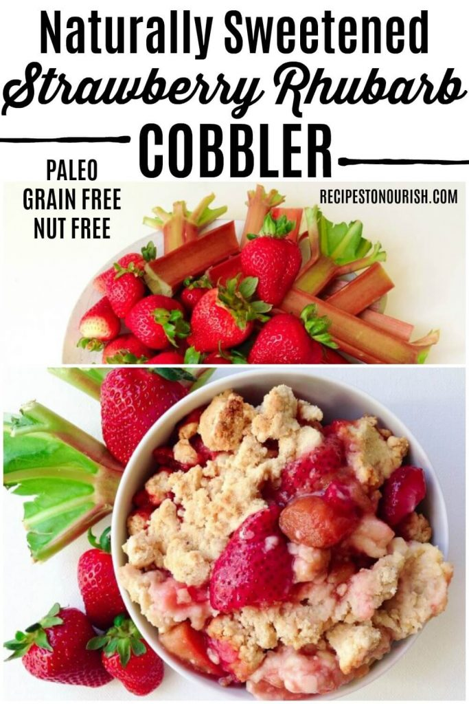 Strawberry rhubarb cobbler in a bowl and fresh strawberries and rhubarb.
