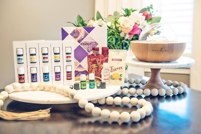 Young Living essential oils premium starter kit and diffuser