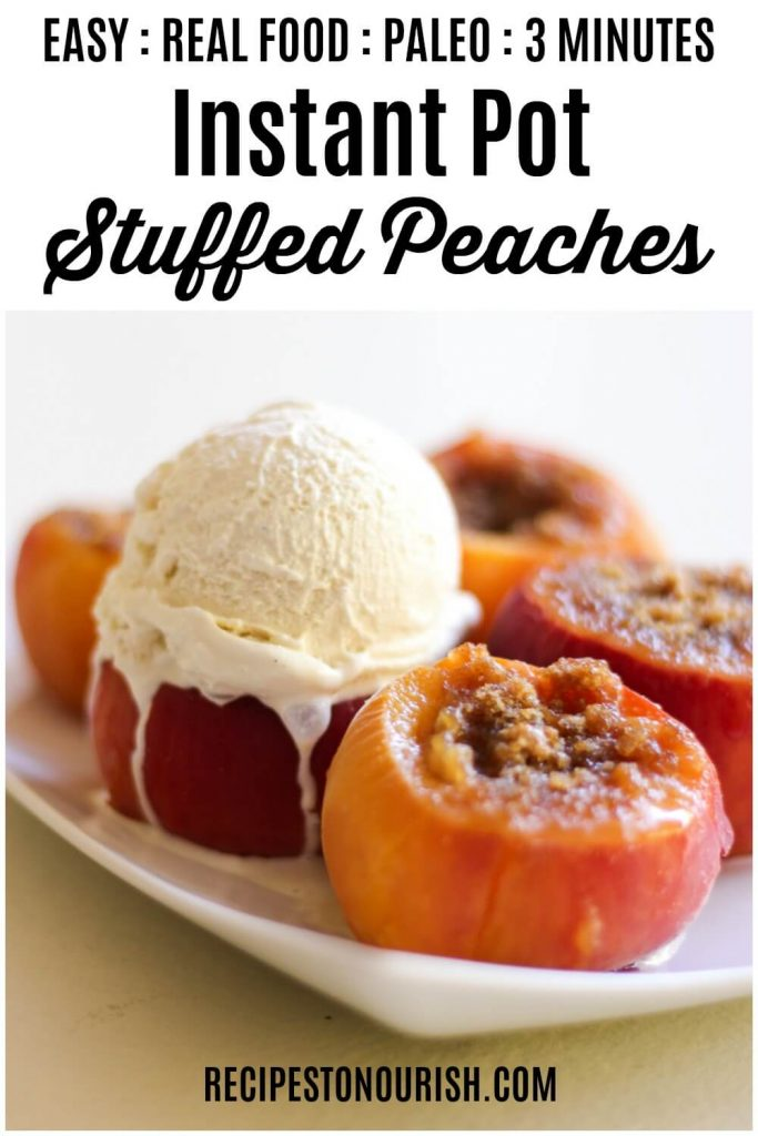 Stuffed peaches topped with vanilla ice cream.