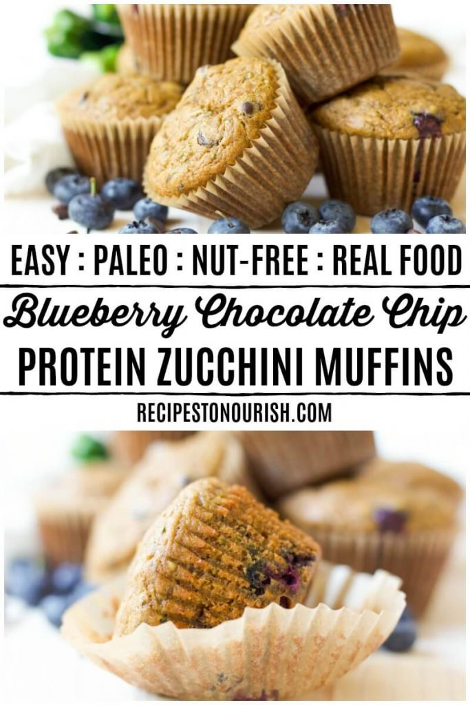 Muffins with blueberries, chocolate chips and fresh zucchini.