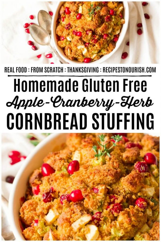 Cornbread stuffing with cranberries and fresh herbs.
