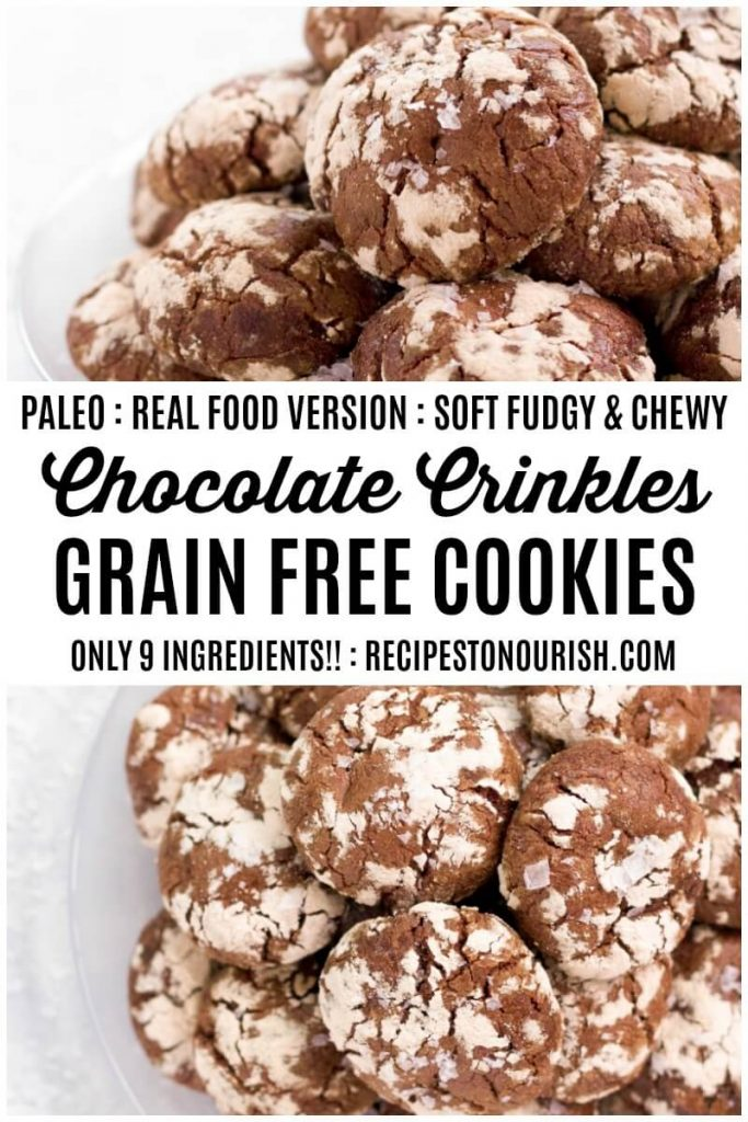 Plates of chocolate crinkle cookies.