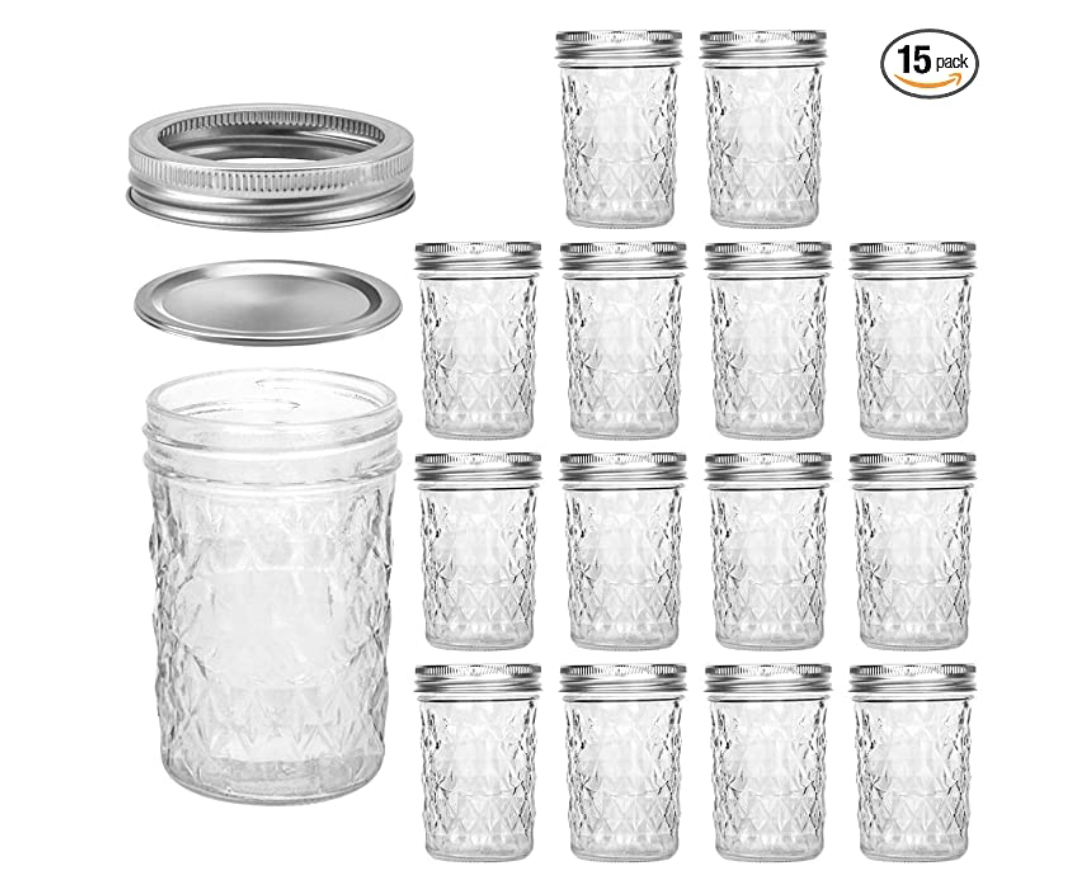 Mason Jars 8 OZ, VERONES 8 OZ Canning Jars Jelly Jars With Regular Lids