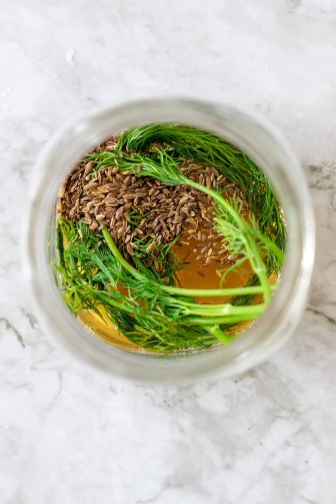 Overhead shot of a mason jar filled with fresh dill sprigs, dill seeds, fennel seeds and apple cider vinegar.