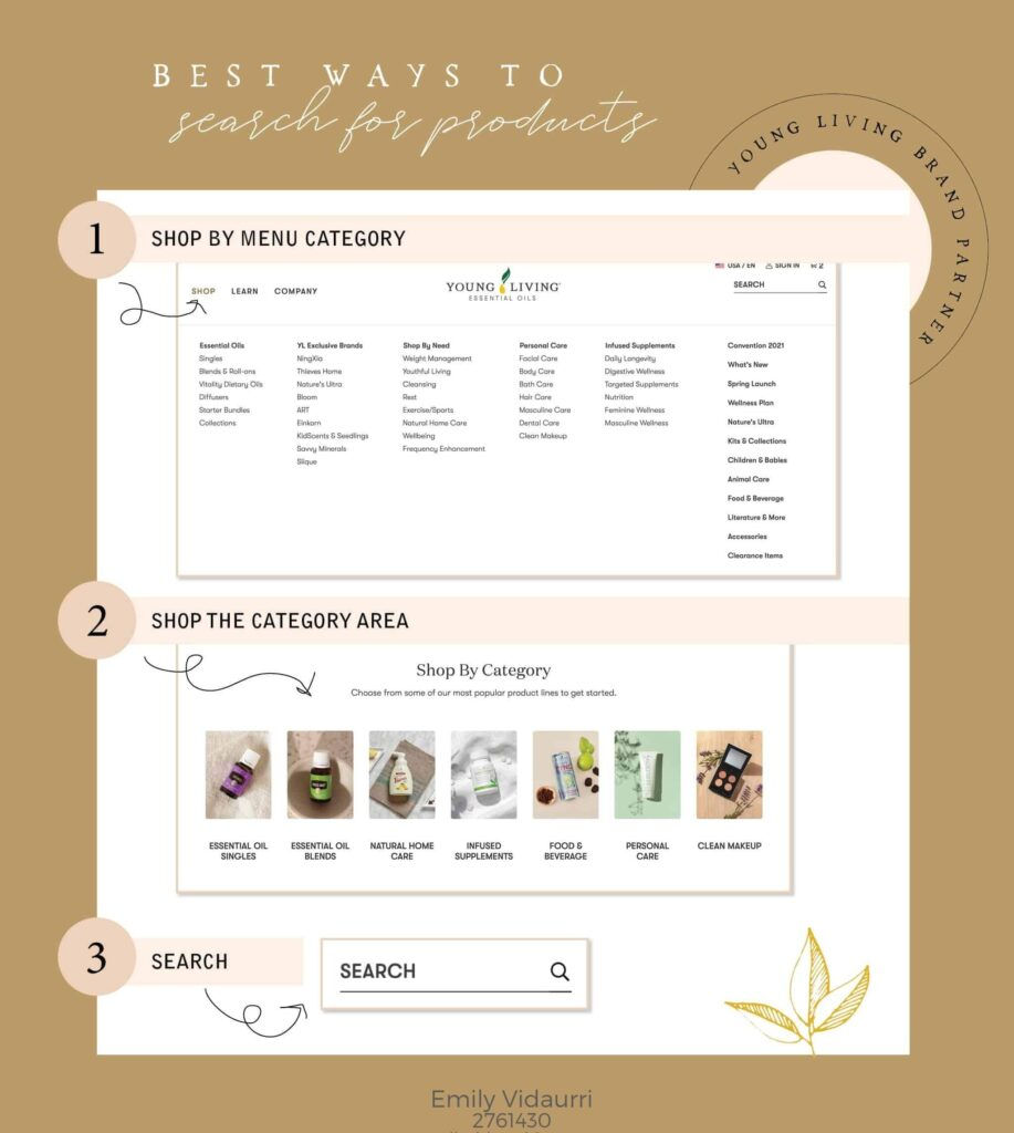 Tutorial photo on the best ways to search for products on Young Living.