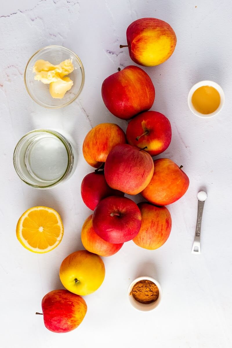 Several whole apples, a bowl with butter, a mason jar with water, a teaspoon with salt, a small bowl with honey, a small bowl with cinnamon and a half of a fresh lemon.